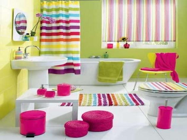 حمامات لأطفالك Colorful-Basement-Bathroom-Renovation-with-Striped-Curtain-and-Carpet-Ideas-e1398259471683