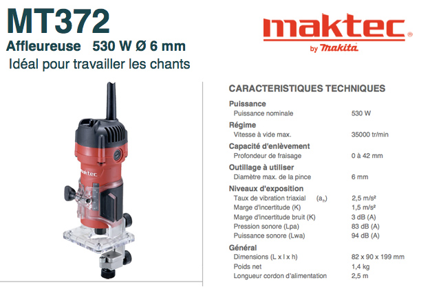 Affleureuse Maktec MT372 (by Makita) Affleureuse-maktec_MT372_makita