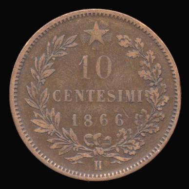 Italia, 10 centésimos, 1866. Italy16_0B