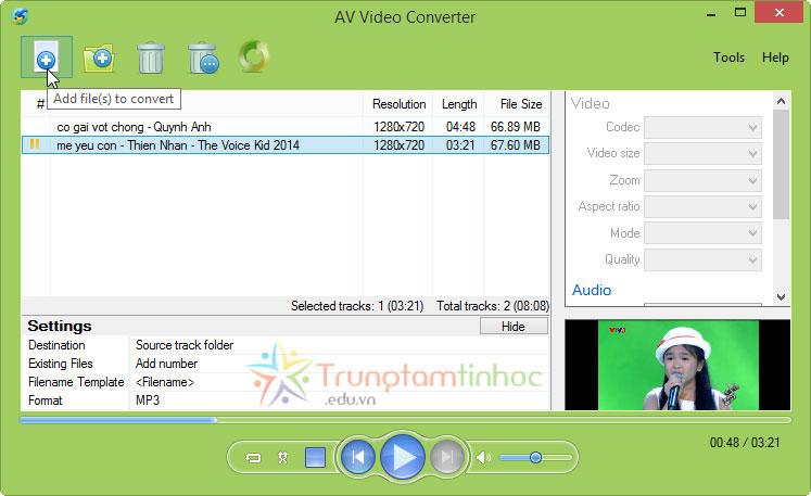 Tách Lấy Tiếng Từ Video AV-Video-Converter