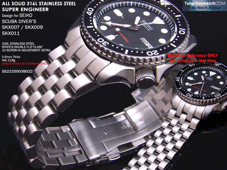 FS: Seiko SKX007, 6309 & Sportura Solid Curve End Stainless Steel Replacement Band SS2220003B022-1