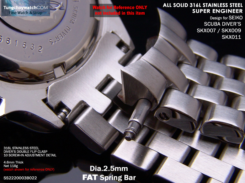 FS: Seiko SKX007, 6309 & Sportura Solid Curve End Stainless Steel Replacement Band SS2220003B022-2