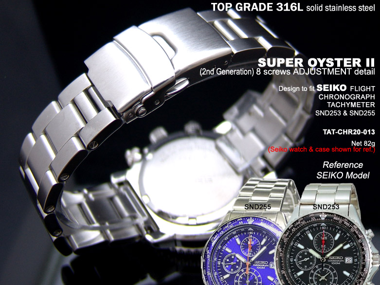 FS: Solid Super Oyster 316L Stainless Steel Band Design for SEIKO Diver & Chronograph TAT-CHR20-013-1