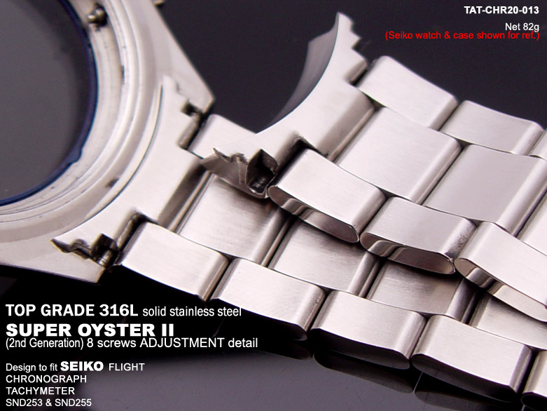 FS: Solid Super Oyster 316L Stainless Steel Band Design for SEIKO Diver & Chronograph TAT-CHR20-013-4