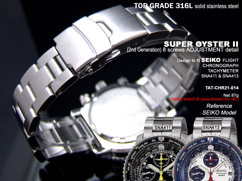 FS: Solid Super Oyster 316L Stainless Steel Band Design for SEIKO Diver & Chronograph TAT-CHR21-014-1