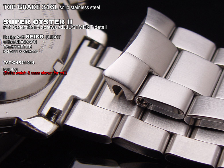 FS: Solid Super Oyster 316L Stainless Steel Band Design for SEIKO Diver & Chronograph TAT-CHR21-014-3