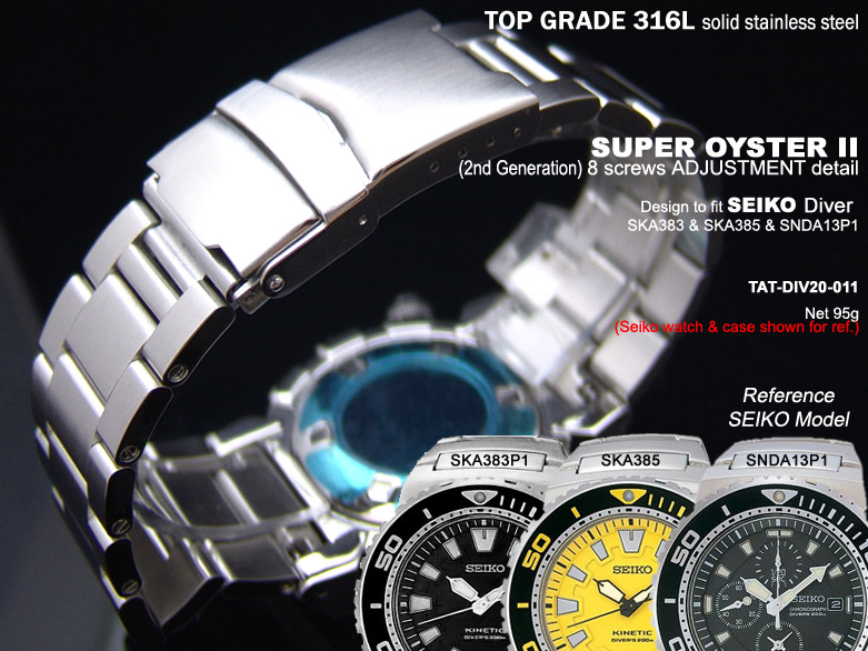 FS: Solid Super Oyster 316L Stainless Steel Band Design for SEIKO Diver & Chronograph TAT-DIV20-011-1