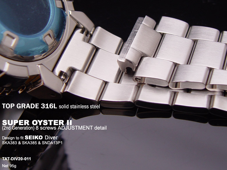 FS: Solid Super Oyster 316L Stainless Steel Band Design for SEIKO Diver & Chronograph TAT-DIV20-011-2