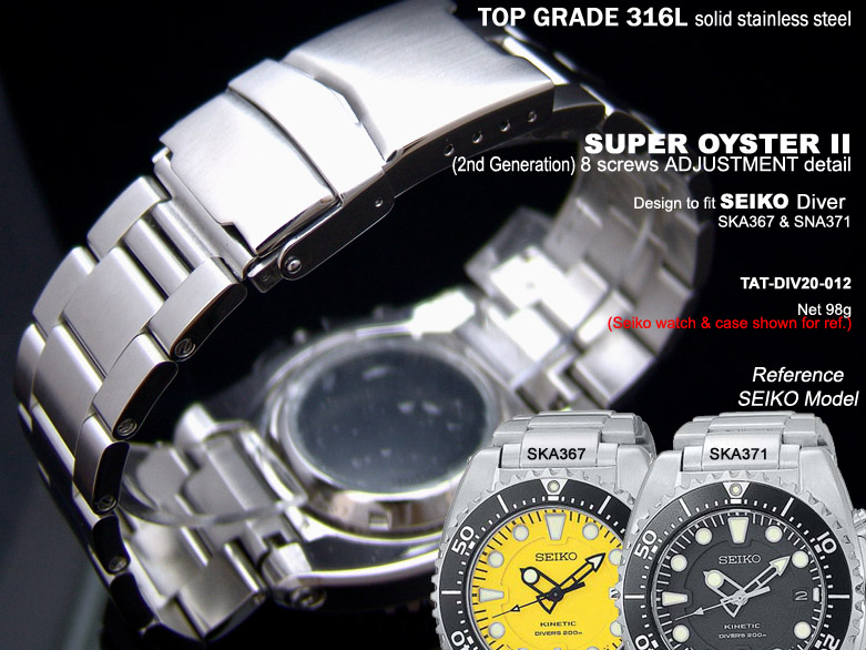 FS: Solid Super Oyster 316L Stainless Steel Band Design for SEIKO Diver & Chronograph TAT-DIV20-012-1
