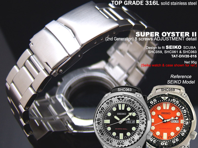 FS: Solid Super Oyster 316L Stainless Steel Band Design for SEIKO Diver & Chronograph TAT-DIV20-015-1