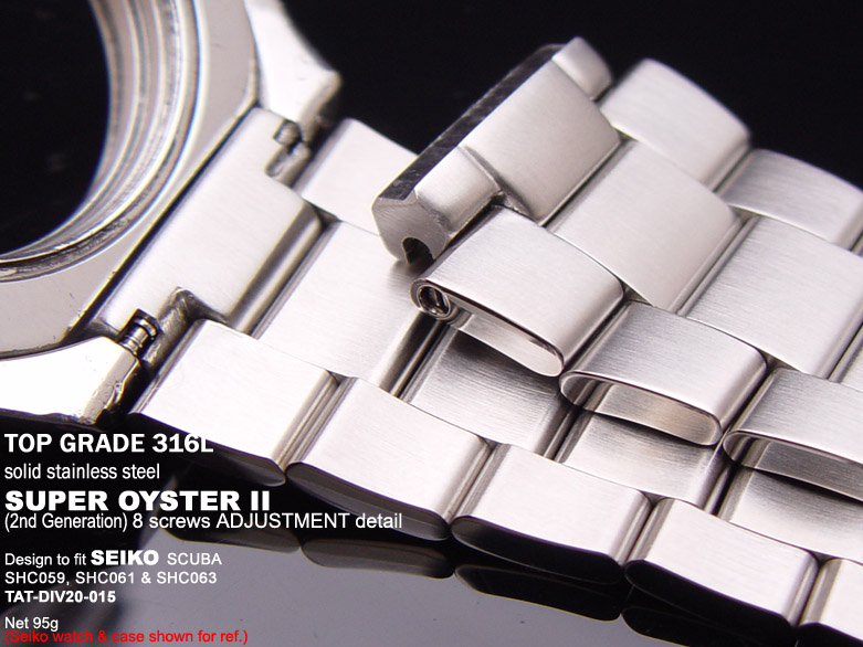 FS: Solid Super Oyster 316L Stainless Steel Band Design for SEIKO Diver & Chronograph TAT-DIV20-015-2