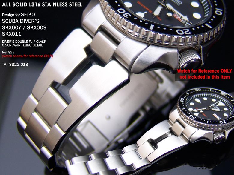 FS: Seiko SKX007 Jubilee & Retro Japan Razor 316L Stainless Steel Replacement Watch Band  TAT-SS22-018-1