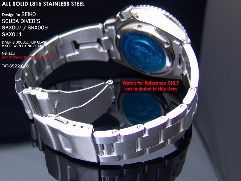 FS: Seiko SKX007 Jubilee & Retro Japan Razor 316L Stainless Steel Replacement Watch Band  TAT-SS22-018-3