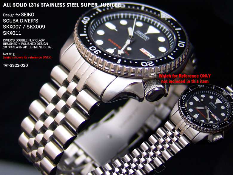 FS: 5 Style Seiko SKX007 Replacement Solid 316L Band + Super Engineer + Double Layer Strap  TAT-SS22-020-1