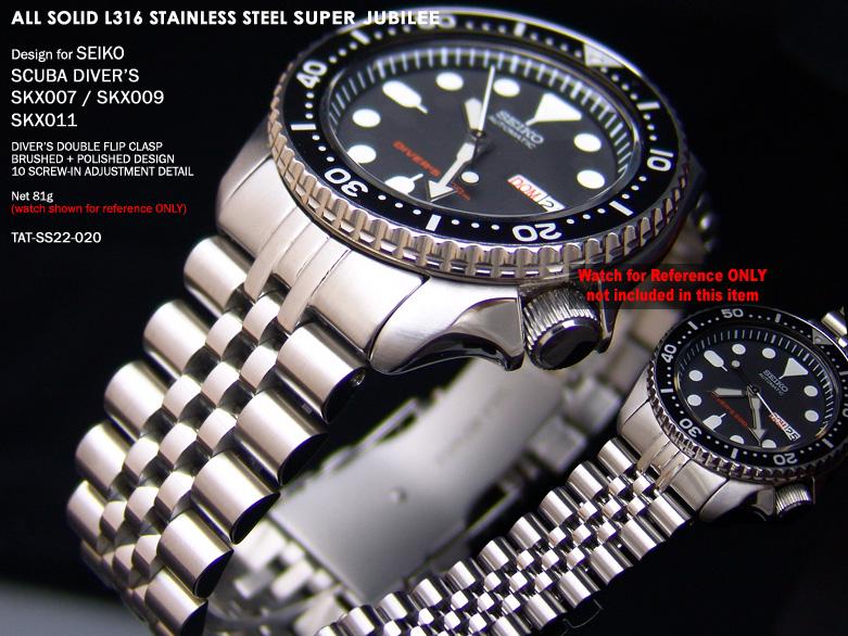 FS: Seiko SKX007 Jubilee & Retro Japan Razor 316L Stainless Steel Replacement Watch Band  TAT-SS22-020-1