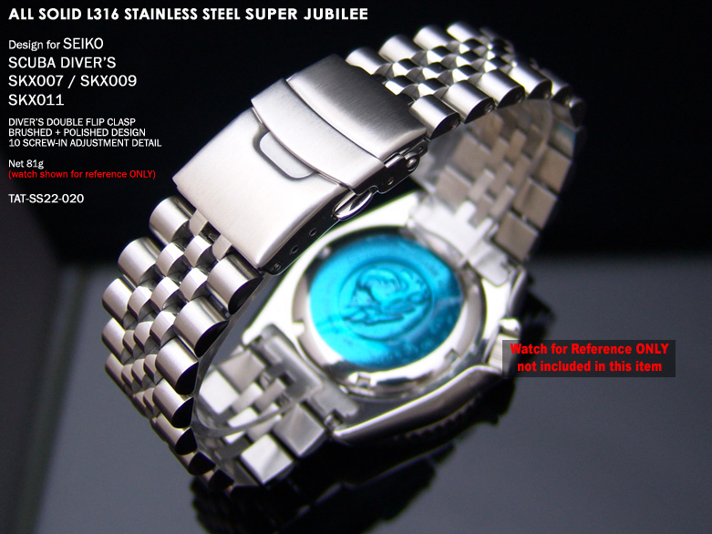 FS: Seiko SKX007 Jubilee & Retro Japan Razor 316L Stainless Steel Replacement Watch Band  TAT-SS22-020-2