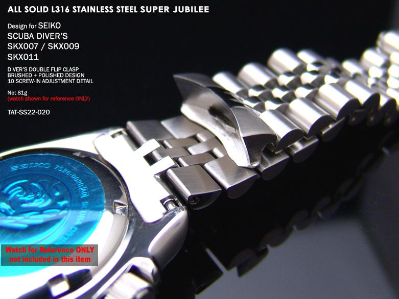 FS: Seiko SKX007 Jubilee & Retro Japan Razor 316L Stainless Steel Replacement Watch Band  TAT-SS22-020-3