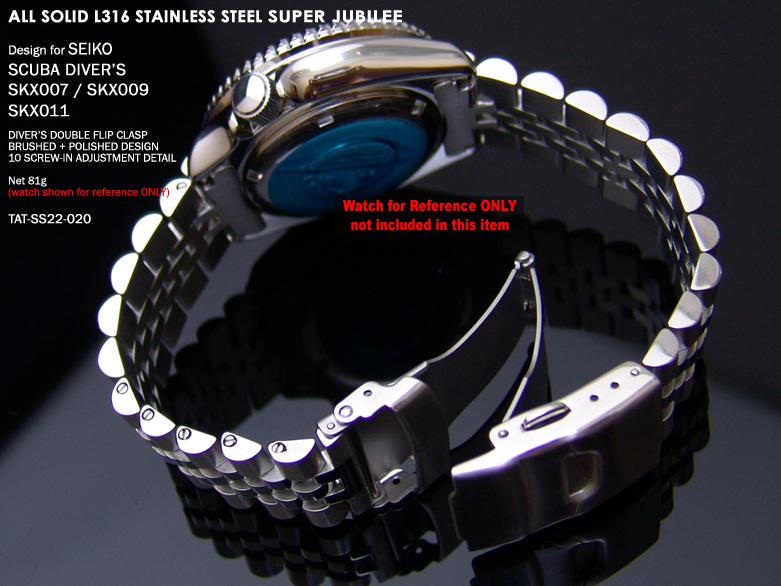 FS: Seiko SKX007 Jubilee & Retro Japan Razor 316L Stainless Steel Replacement Watch Band  TAT-SS22-020-4