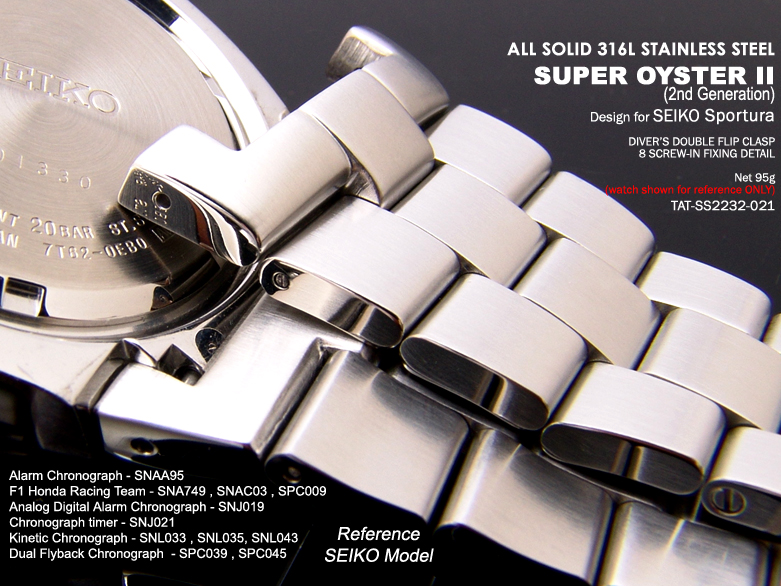 FS: 22mm Replacement Metal Band - Seiko SPORTURA : SNA749, SNAC03, etc $48.99  TAT-SS2223-021-3