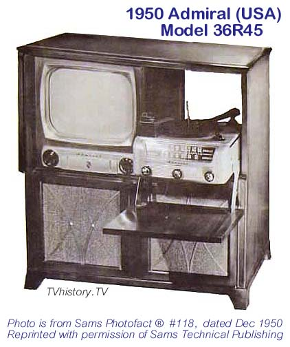 Anyone familiar with the 1950s Admiral TV combos?  1950-Admiral-36R45