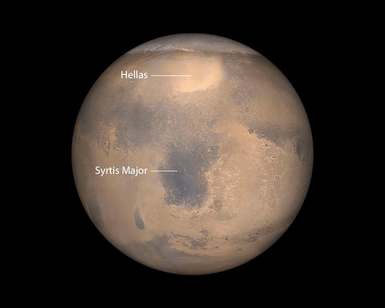 Maratona planetária. Hellas-NASA_JPL_MalinSpaceScienceSystems_anno_edited-1