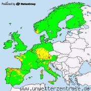 Aktuelle Unwetterwarnungen für Europa