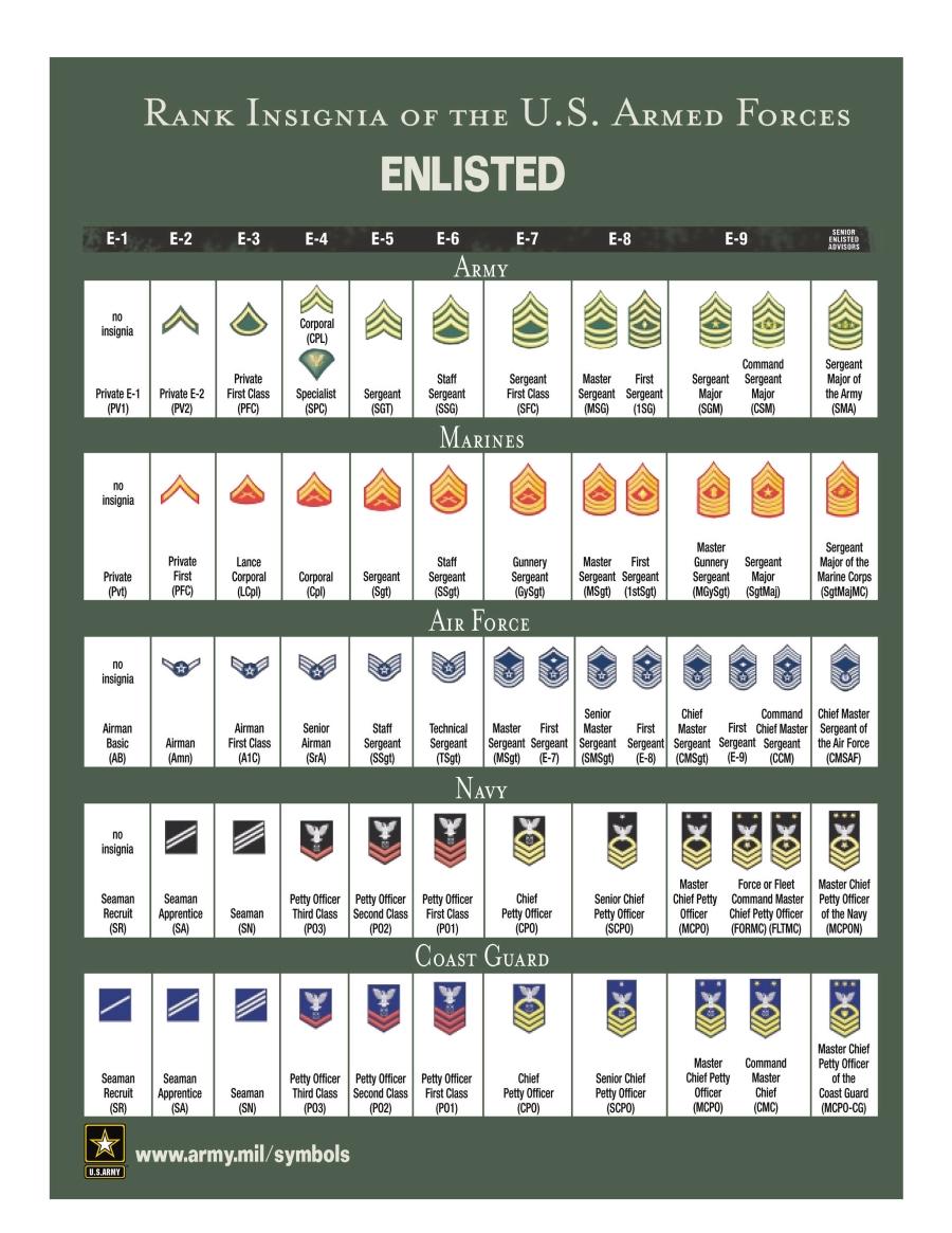 Grados de tropa y sueldos en el las Fuerzas Armadas de Estados Unidos Enlisted_Ranks_1