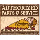 affiches anciennes ou pubs indian Plaque-publicitaire-metal-indian-motorcycles-authorized-parts-and-service