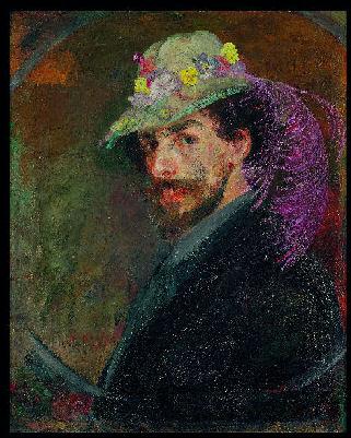 James Ensor  James-ensor-hst-1883-autoportrait-au-chapeau-fleuri