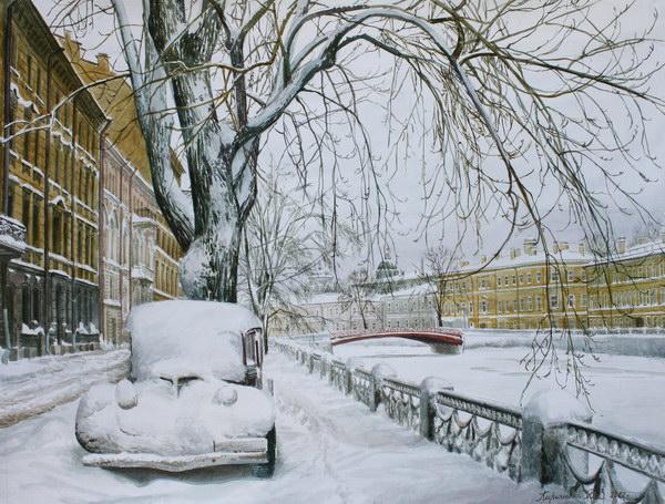 Акварельное настроение - Страница 9 Sankt-peterburg-zasnezhennaya-naberezhnaya