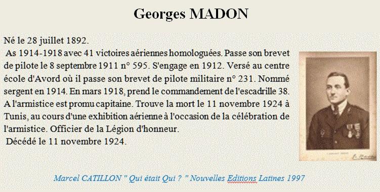 Un AS de 1914/18 Georges Madon Madon