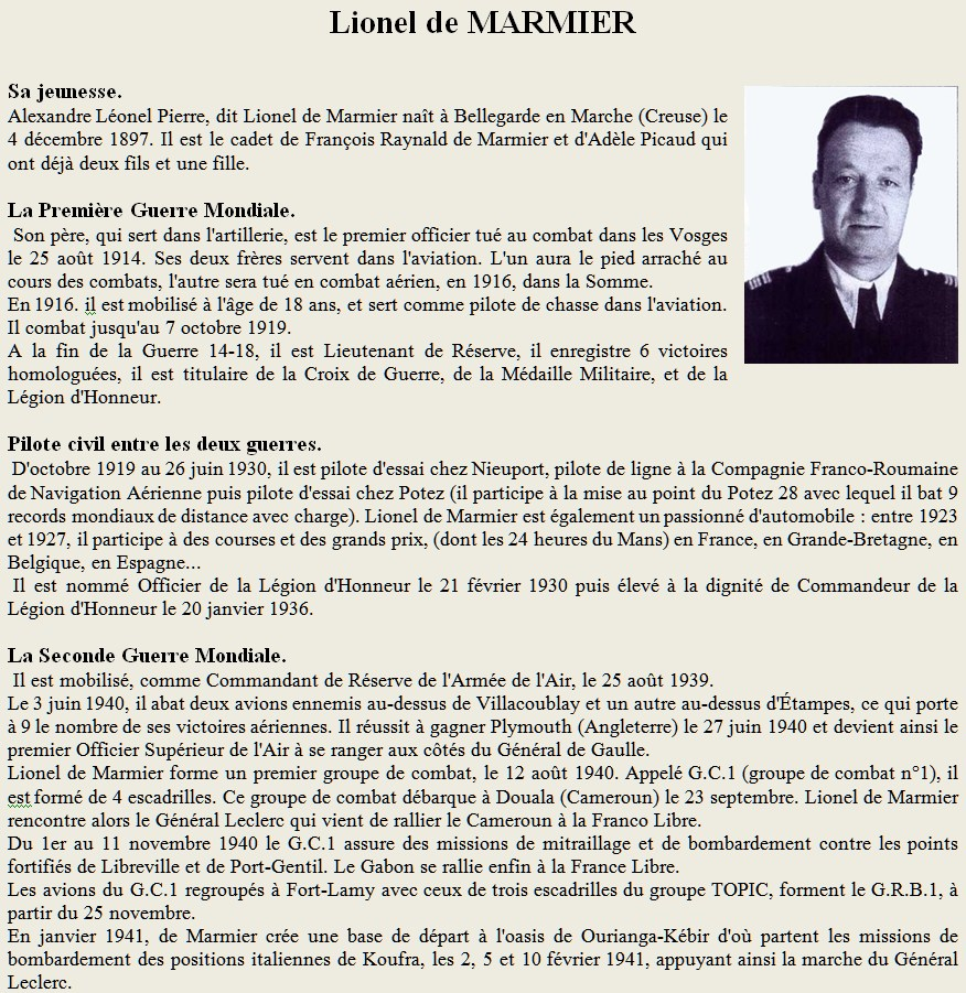 Un Pilote des deux guerre Lionel de Marmier Marnier1
