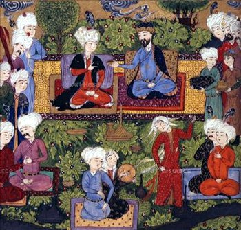 Rencontres entre l'Orient et l'Occident Alexandre-en-conversation-avec-un-khan-illustration-des-cinq-poemes-de-nizami