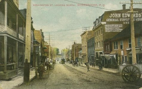 Villes et villages en cartes postales anciennes .. - Page 6 Sherbrooke-pq-quebec-wellington-st-general-store-trolley