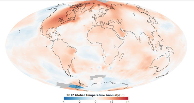Continúa la tendencia a largo plazo del calentamiento global Temperaturas-2012