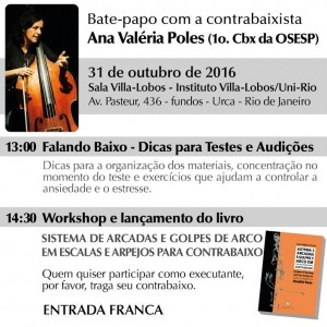 31/10: Bate papo, workshop e lançamento de livro da contrabaixista Ana Valéria Poles, no Rio! Ana-Val%C3%A9ria-Poles-31102016-RJ-300x300
