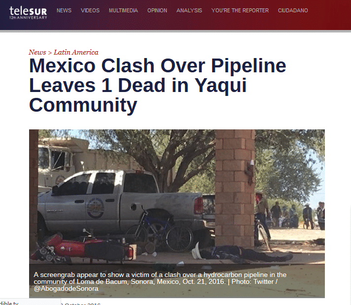 """The Yaquis People Forcefully Halted A Pipeline's Construction: """"Standing Rock Of Mexico"""" Telesur"""