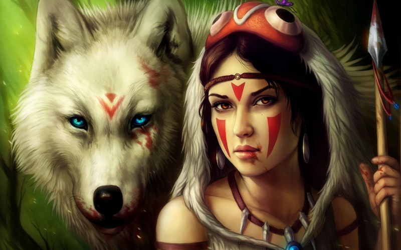 تمرين فعال لازالة الكآبة..ههههههههه Women%20blood%20princess%20mononoke%20fantasy%20art%20warriors%20spears%20face%20paint%20wolves%202560x1600%20wallpaper_www.wallpaperhi.com_84