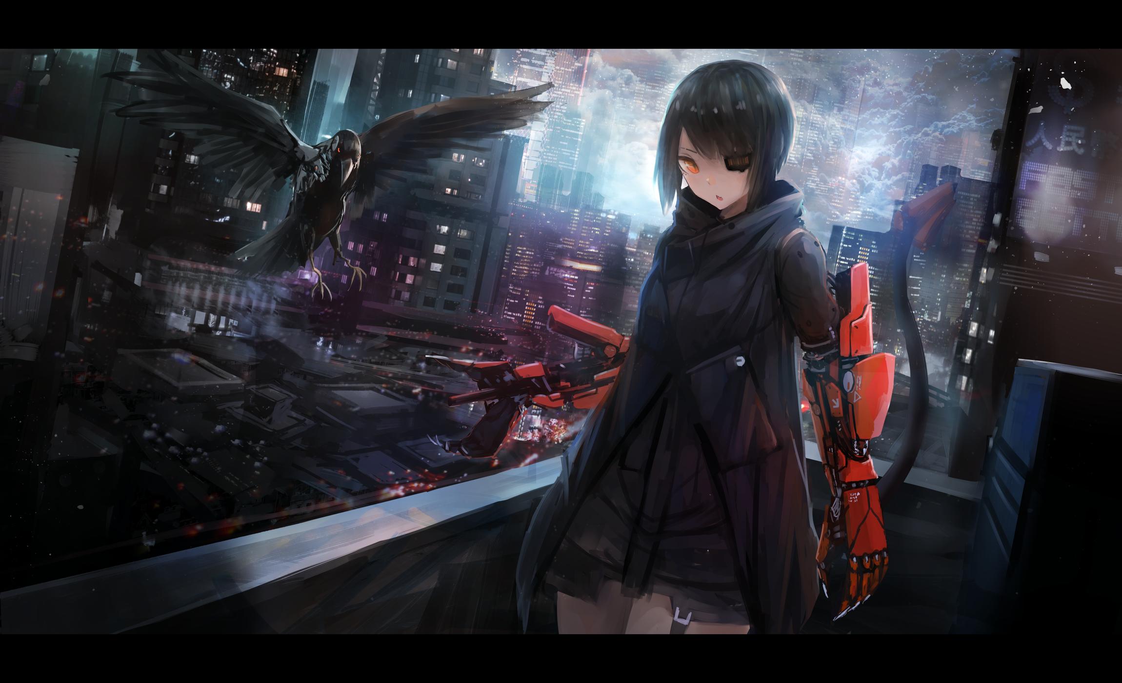 Votre fond d'écran du moment - Page 12 Anime-girl-cyberpunk-sci-fi-futuristic-one-eye-cape-anime-3591