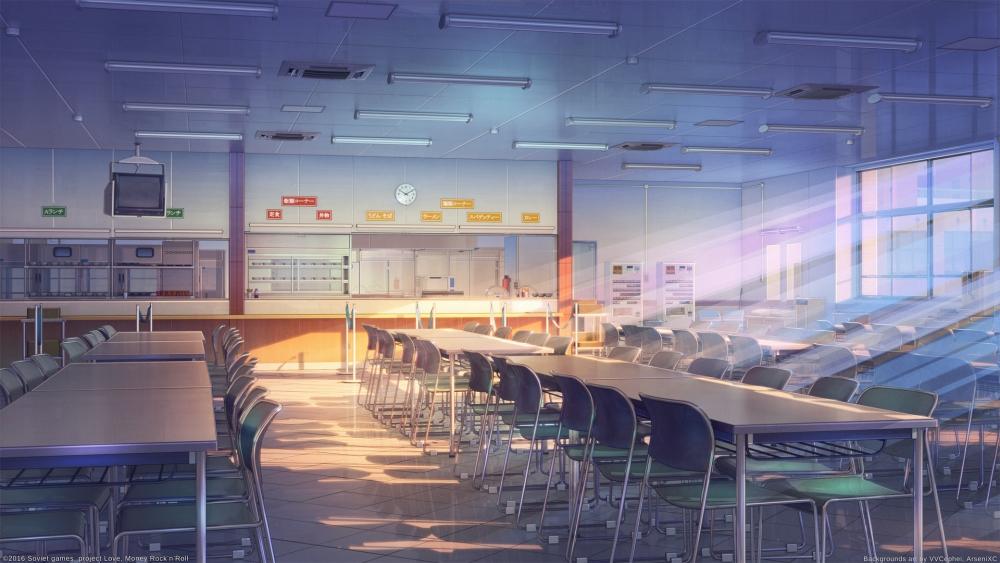 Karen Starring/Mari Fuuma - Chatroom Besties Anime-building-school-cafeteria-sunshine-windows-artwork-scenic-anime-7767-resized