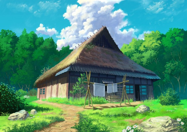 leaf kuca Anime-house-forest-clouds-scenic-grass-anime-19027-resized