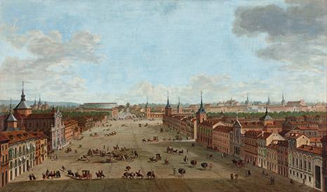 Real Academia de Bellas Artes de San Fernando  Antonio-joli_vista-de-la-calle-alcala-en-Madrid_1754