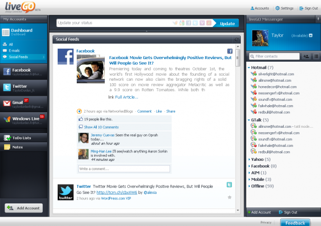 Serviço online MessengerFX renasce como LiveGo Dashboard_socialfeed-640x451