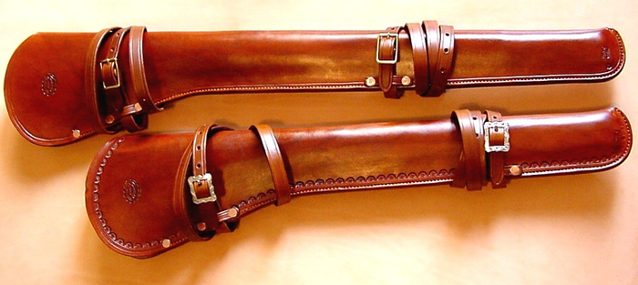 un abri pour une winchester 1887 canon long Scabbards_Gun_Leather