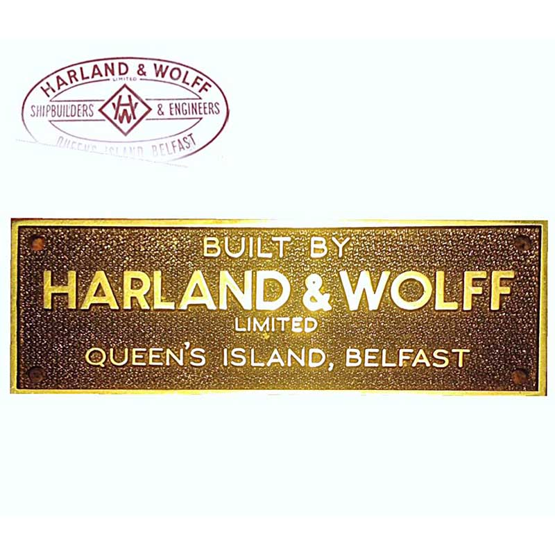Conception plaque de construction Harland & Wolff, Belfast (Titanic) Handwsign