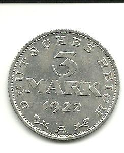 Alemania, 3 mark, 1922. 162479272