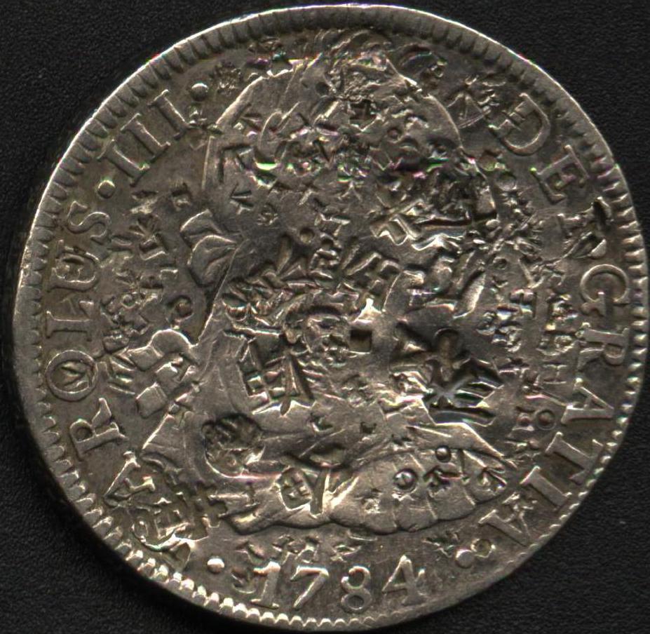 8 Reales de Carlos III (México, 1784 FF) con chopmarks 31422411