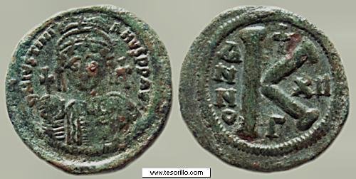 Medio Follis de Justino II y Sophia ,Thesalonica, año 11 377502596