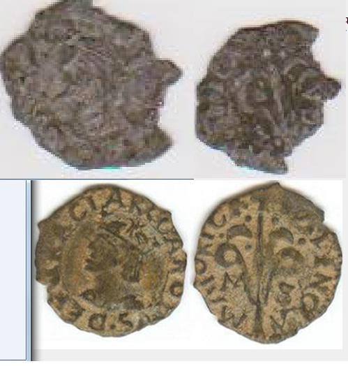 Dinero de Carlos I (Valencia, 1516-1555) marcas I//O 461727126