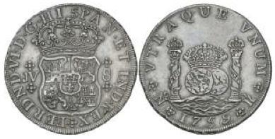 """8 Reales """"columnario"""" de Fernando VI (Santa Fe, 1759) pieza falsa 523072086"""